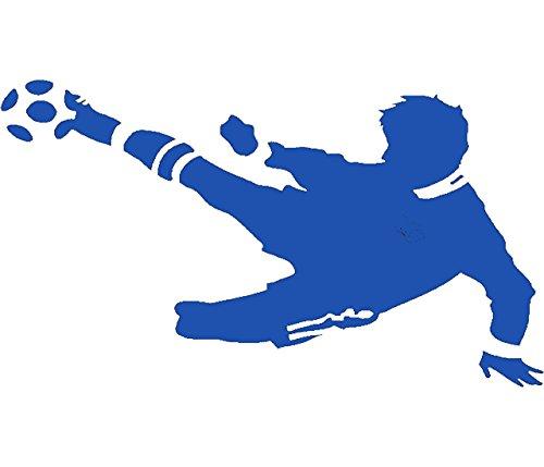 EmmiJules Wandtattoo Fussballer - mit Namen möglich - Made in Germany - in verschiedenen Größen und Farben -️ Kinderzimmer Junge Fußball WM EM Wohnzimmer Sticker Aufkleber (80cm x 50cm, blau)