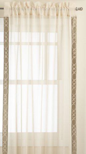 Regal Home Collections Pierre Bestickt Rod Pocket Fenster Behandlung Panel, 50, durch 84Zoll, Gold/Beige, 50