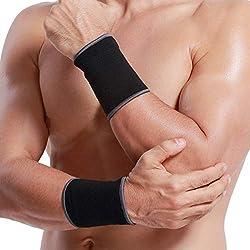 Neotech Care - Handgelenkbandage (1 Paar) - elastisches und atmungsaktives Strickgewebe zur Kompression - für Tennis, Fitnessstudio, Sport, Sehnenentzündung - Schwarz - M