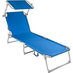 tectake Chaise Longue Pliante Bain de Soleil avec Parasol Pare Soleil - diverses Couleurs et quantités au Choix - (1x Bleu | No. 400654)