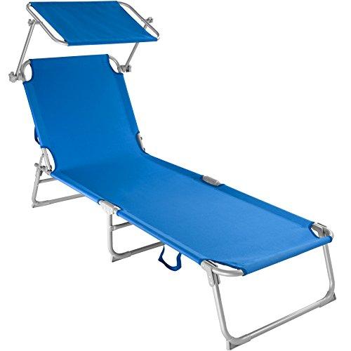 TecTake Gartenliege Sonnenliege Strandliege Freizeitliege mit Sonnendach 190cm -diverse Farben-...