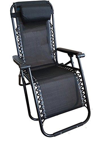 Dimaplast2000 relax greek sdraio reclinabile pieghevole, nero, 90x66x110 cm