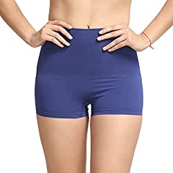 Zivame Womens Plain Synthetic Boy Shorts (ZSWP0748_Blue_X-Large)