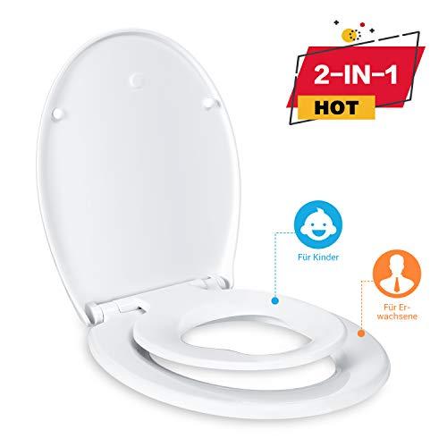 WC Sitz Family, Dalmo DBTS01BJ O-Form Toilettensitz für Kinder und Familien mit integriertem Kindersitz, Absenkautomatik Funktion, abnehmbarer Toilettendeckel, leicht zur Reinigung und Installation