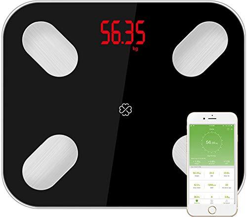 Digitale Bluetooth Gewicht Körperwaage, Körperanalysewaage mit APP, Körperfettwaage für BMI, Personenwaage für Körperfett Waage Messgerät
