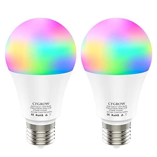 Lampadina Intelligente, Smart WiFi LED E27 9W Multicolore Dimmerabile Lampadine, Compatibile con Alexa, Google Home, IFTTT Nessun Hub Richiesto, 2 Pezzi
