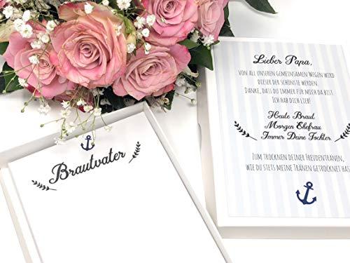 Hochzeit Geschenk Brautvater - Stofftaschentuch für Freudentränen Vater der Braut (Braut-taschentuch Der Mutter)
