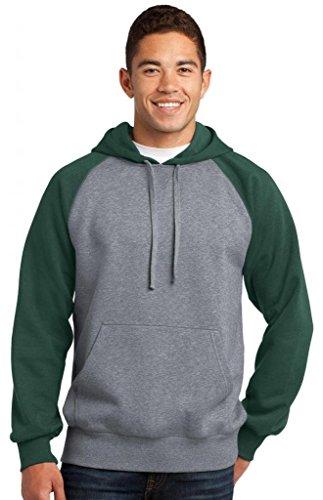 Sport-tek Herren Raglan (Sport-Tek® Raglan Colorblock Pullover Hooded Sweatshirt. ST267 Forest Green/)
