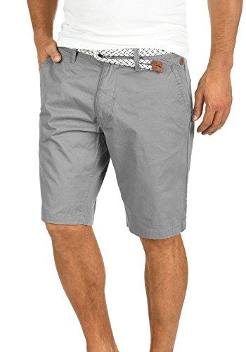 Blend Blend Ragna Herren Chino Shorts Bermuda Kurze Hose Mit Kordel-Gürtel Aus 100% Baumwolle Regular Fit, Größe:S, Farbe:Aluminium (70107)