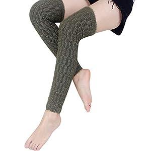 ITISME Socken Damen Damen Winter Beinlinge Zopfmuster gestrickt Silber Draht Socke Legging