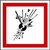 Aufkleber GHS 01 Gefahrensymbole Explodierende Bombe, Einzeln 100x100mm