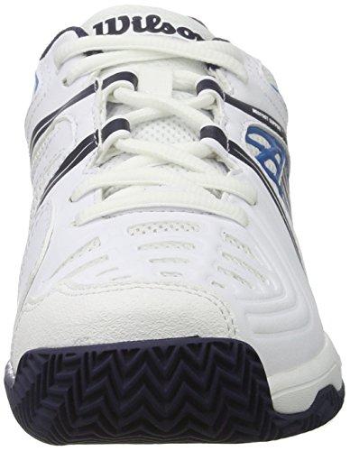 Wilson Tour Vision V Wh/Bl/Ny, Scarpe da Tennis Uomo Bianco (White/methyl Blue/navy)