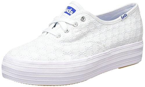 Keds Triple Eyelet, Chaussures à lacets femme Blanc