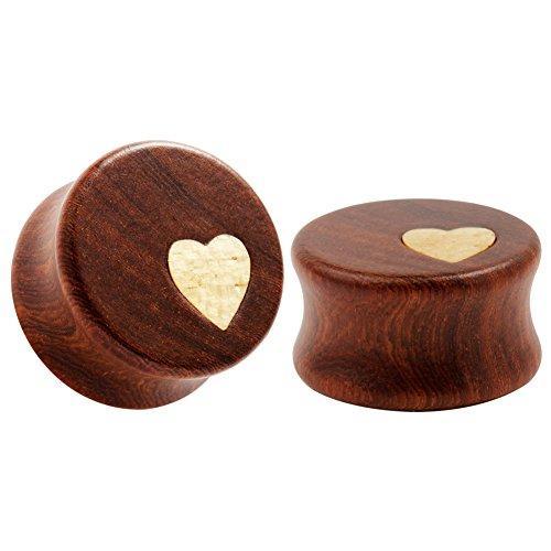 KUBOOZ Natur rote Sandelholz hölzernen Steckern prägnanten Stil Herz/Blume Design Ohr durchbohrt 8-25mm -