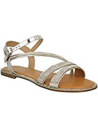 297af8303fff Fashion Thirsty New Ladies Womens Flat Strappy Peep Toe Diamante Ankle Strap  Summer Sandals Size