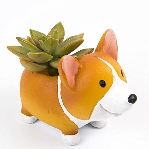 Image of somarke Cute Corgi Dog Shaped Flowerpot Succulent Plants Pot Planter, Set of 2