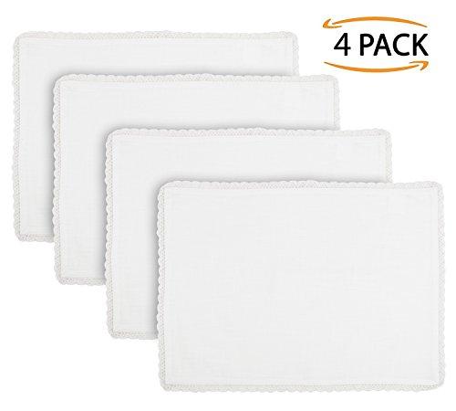 SweetNeedle - Confezione da 4 pezzi - Cotone fiammato con lavorazione a uncinetto Designer Tovaglietta da tavola 35 CM x 48 CM (14 IN x 19 IN) in colore bianco - Look di lino Premium - 100% fibra di cellulosa naturale