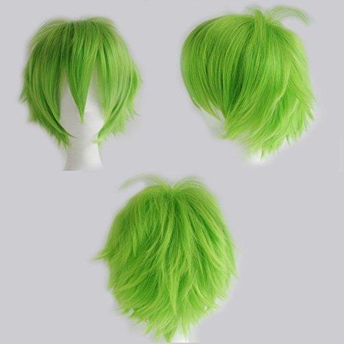 S-noilite® Kostüm Perücke Damen Mann Kurz Party Cosplay wig Kostueme Glatt Haar Wigs blonde grün