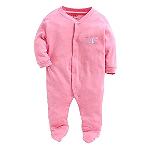 Online Choice Baby Romper Long Sleeve Cotton Full Body Sleep Suit, Set of 3 (Pink, Newborn - 0) - 130 A