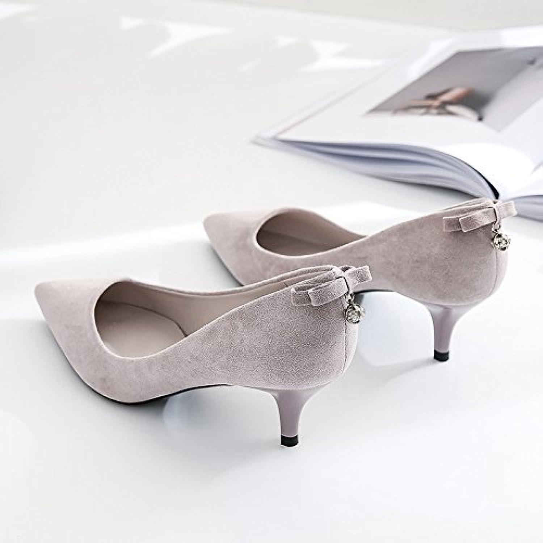 Ajunr Moda/elegante/Transpirable/Sandalias Zapatos de mujer Sharp 5cm tacones altos Pajarita Colgante de Post... -
