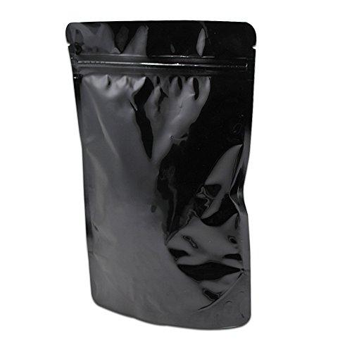 15x23cm (5.9x9.1 inch) Kleine Geschenk Weihnachts - süßigkeiten Verpacken Stehen Beutel Pure Alufolie Mylar Lebensmittel Lagerung Packing Taschen Reißverschluss Ziplock mit Reißen Selbständig Aluminumfolie Ordnung Beutel Schwarz Farbe (200)