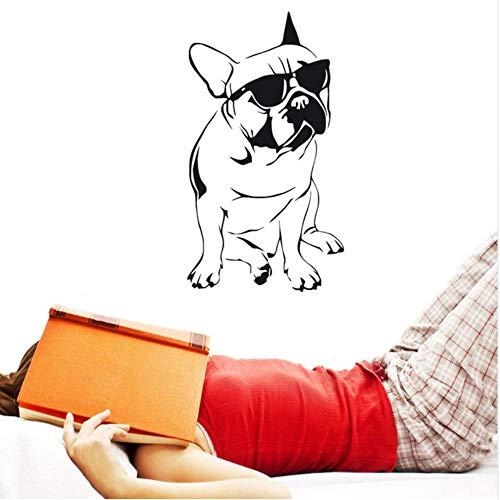 lsweia hübsche Französische Bulldogge Mit Sonnenbrille Wandaufkleber Jungen Schlafzimmer Dekorative Vinyl Tier Wandtattoo33 * 59Cm