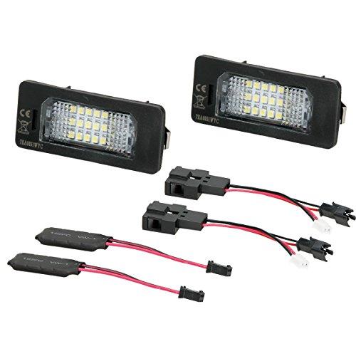 ECD Germany 2 x LED Kennzeichenbeleuchtung mit E-Prüfzeichen 18 SMD Kennzeichen Beleuchtung Kennzeichenleuchte Nummernschild Licht (Kennzeichen Beleuchtung)