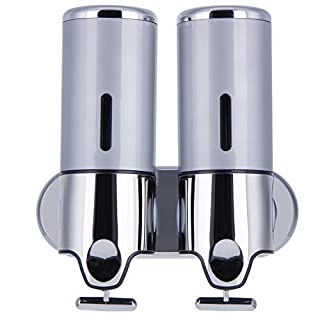 Anmyox Double Soap Dispenser Wall Mounted Shampoo Conditioner, Shower Gel Lotion Soap Pump for Bathroom or Kitchen