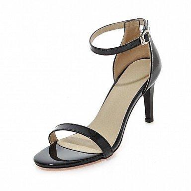 LvYuan Da donna Sandali Finta pelle PU (Poliuretano) Estate Autunno Footing Fibbia A stiletto Bianco Nero Blu Rosa 7,5 - 9,5 cm Black
