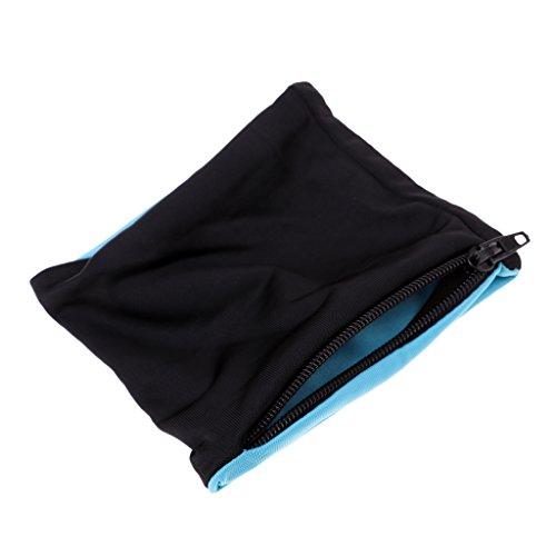 (Baoblade Unisex Schweißband Schweißarmband Sport Handgelenktasche mit Reißverschluss Tasche für Joggen, Fitness, Gymnastik, Laufen, Radfahren, Badminton, Training - Schwarz Hellblau)
