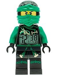 LEGO Ninjago Sky Pirates Lloyd Kinder-Wecker mit Minifigur und Hintergrundbeleuchtung | grün/schwarz | Kunststoff | 24 cm hoch | LCD-Display | Junge/ Mädchen | offiziell