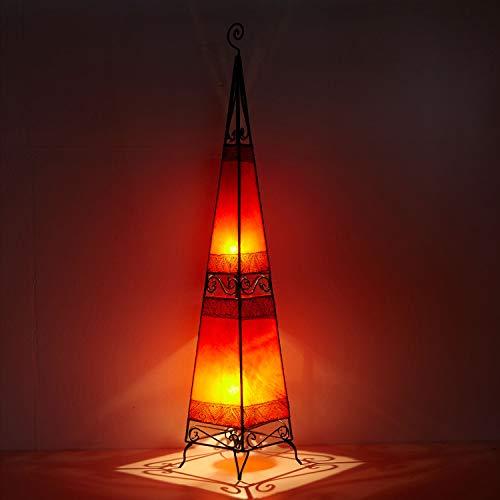 Orientalische Hennalampe marokkanische Stehlampe XL Raket H150 cm groß rot Metall & Leder | Kunsthandwerk aus Marrakesch | Handbemalte Lederlampe handgefertigte Hennaleuchte aus echtem Leder | L1044