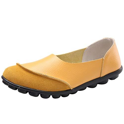 iLPM5 Damen Sommer Freizeit Komfort Einfarbig Weicher Boden Flache Einzelne Schuhe rutschfeste Schuhe Fahrschuhe Faule Schuhe -