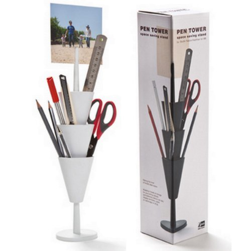 Stifteköcher, Pen Tower, Aufbewahrung, Büro, Schreibtisch, Dekoration, weiss