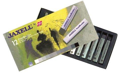 Honsell 47647 - Jaxell Pastellkreide, eckige Form, 12er Set in Grautönen, satte Farben, für flächiges und präzises Arbeiten, für Künster, Hobbymaler, Schule, Kunstunterricht, Ausbildung