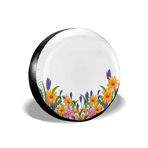 BBABYY Tire Cover Tire Cover Wheel Covers,Cartoon Like Print Garden Floral Daisies Violets Tulips Nature Theme Decor,for SUV Truck Camper Travel Trailer Accessories 17 inch
