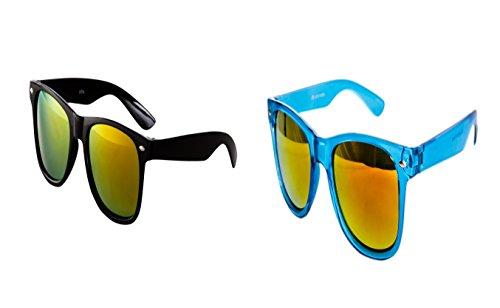 2 er Set Nerd Sonnenbrille Nerd Brille Bunt verspiegelt Schwarz + Türkis