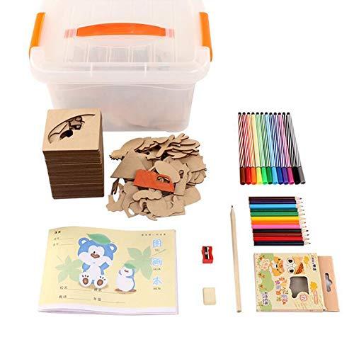 Jcsdhly Hölzern Zeichnung Schablonen Kit für Kinder, 50 Stück Tiere Früchte Vorlagen und Ausschnitte, Künstlerbedarf Geschenkset für Mädchen und Jungen