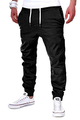 behype. Herren Chino-Hose Stretch Low Crotch Basic Jeans-Hose 80-0006 Schwarz L/W34 Mens Jogger