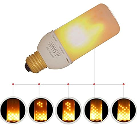 JUNOLUX Led Flame Effect Fire Light Bulbs,Creative Lights with Flickering Emulation,Vintage Atmosphere Decorative Lamps, Simulated Gas Hurricane Lantern,Warm White,4watts E27,1