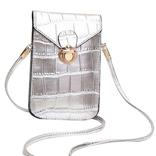 HeHe PU Leder Mini Handytasche Kleine Umhängetasche mit Vielen Fächern für Damen Mädchen Passt iPhone 7 Plus - Silber