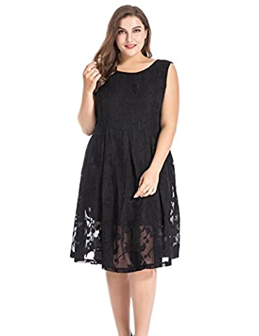 Chicwe Women's Plus Size Sleeveless Burn-out Floral Dress with V-Back