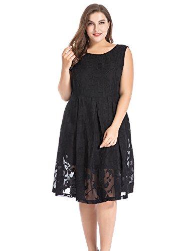 Chicwe Damen Große Größen Ärmellos In voller Blüte Blumen Kleid mit V-Ausschnitt 48, Schwarz