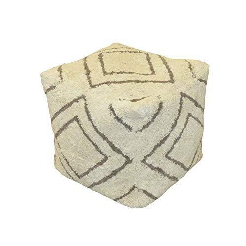 Cotton wood Pouf berbere - 100% Coton Beige et Marron - 40 x 40 x 40 cm