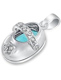 Bling Jewelry Sterling Silver Ladybug bebé zapato colgante esmalte blanco