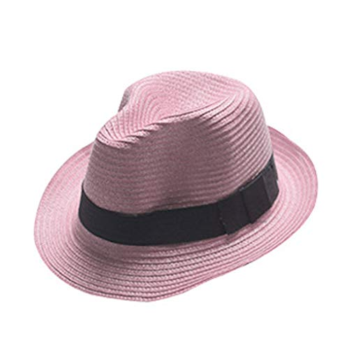 Boolavard Damen Breiter Krempe Stroh Panama Hut Fedora Beach Sun Hut UPF50 + (Lila)