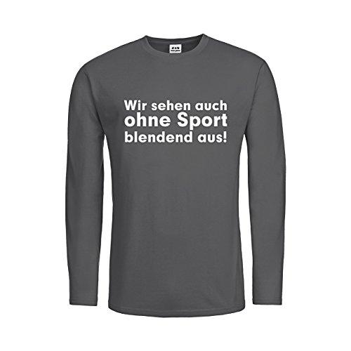 Weißen Blendend Kostüm (dress-puntos Kids Kinder Langarm T-Shirt Wir sehen auch ohne Sport blendend aus! 20drpt15-ktls00120-288 Textil darkgrey / Motiv weiss Gr.)