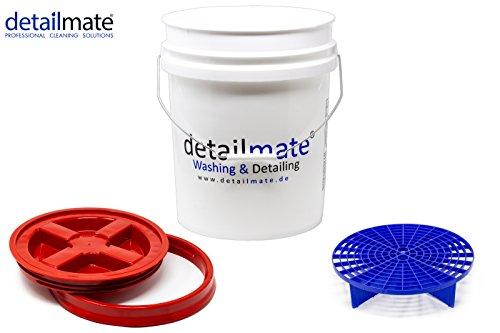 detailmate Profi Set Auto Reinigung GritGuard: Wasch Eimer 5 GAL (ca. 20 Liter) / Gamma Seal Eimerdeckel rot/Einsatz blau