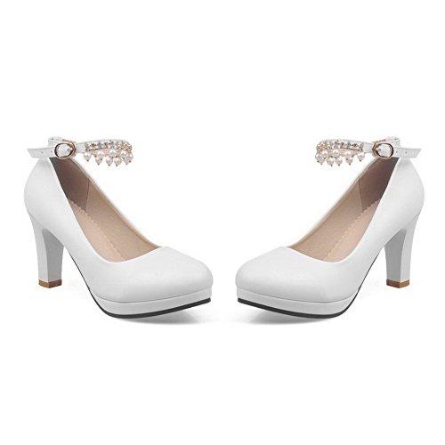 AgooLar Femme Boucle Rond à Talon Haut Couleur Unie Chaussures Légeres Blanc