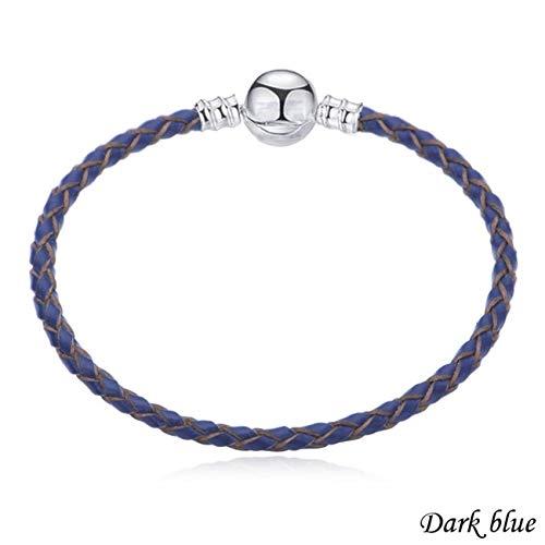 Bracciali Bracciale Multicolo Double Braided Chain & Link Bracelets Compatible DIY Beads Fit Pan Bracelet Leather Charm Bracelets For Women Dark blue 21cm